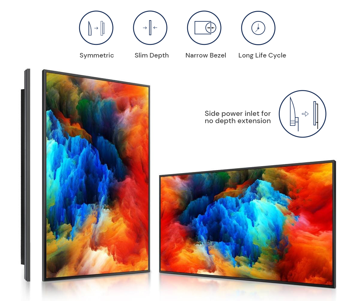 Slim and symmetrical design of Samsung QB65R commercial signage display