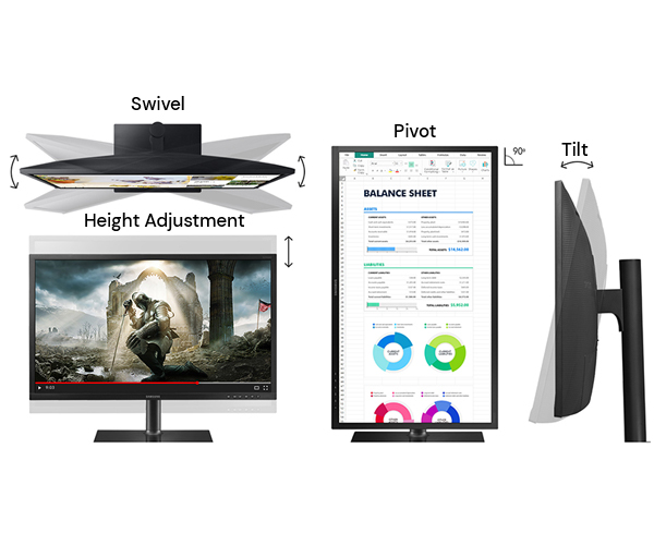Sleek, slim design of samsung 27 inches LED business monitor
