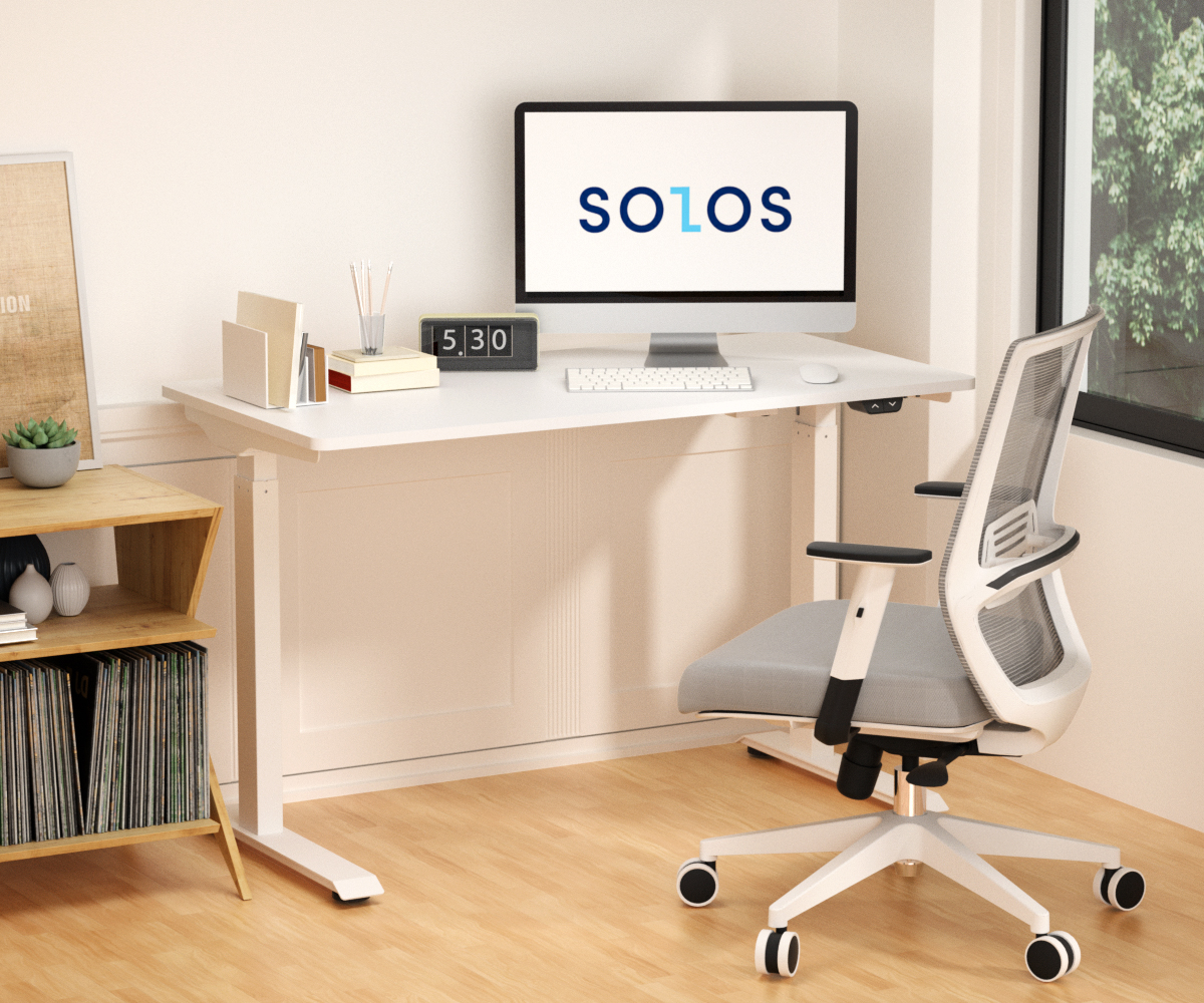 SOLOS adjustable home office desk comes with a compatible 47 by 23 inch standard integrated desktop, which is perfect for studio and home use.