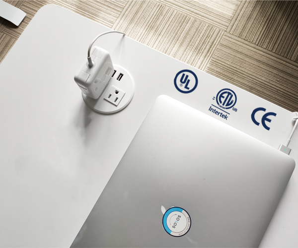 A built-in circuit protector of power grommet ensures for the safe use of all devices