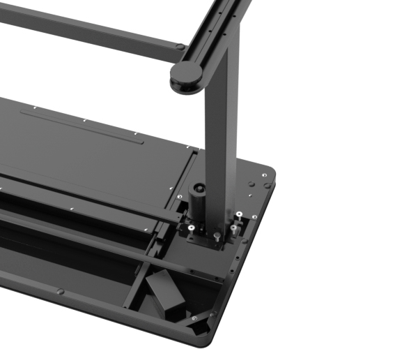 The glass top standing desk is designed for fast and easy assembly with its integrated desk design