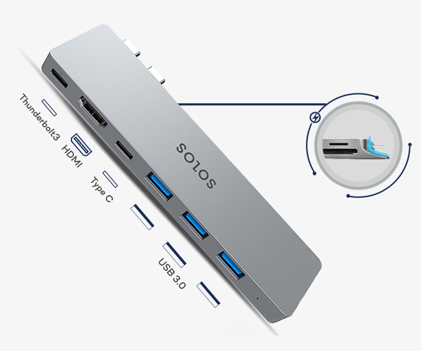 SOLOS USB C hub comes with a unique stabilizer design, allowing it to be firmly attached to your laptop