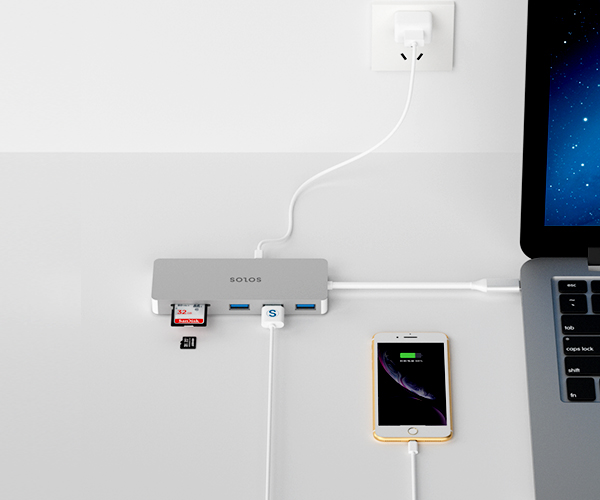 SOLOS Dual Type C Hub allows you to charge your laptop while expanding connections at the same time