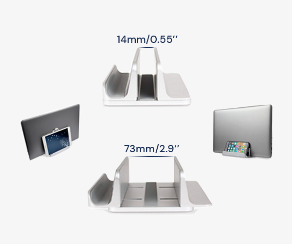 SOLOS dual slot laptop stand creates a neat and organized space for your desk