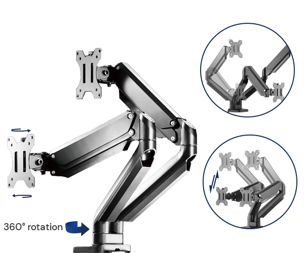 Fully Adjustable Gas Spring Mechanism of SOLOS Monitor Stand-Premium