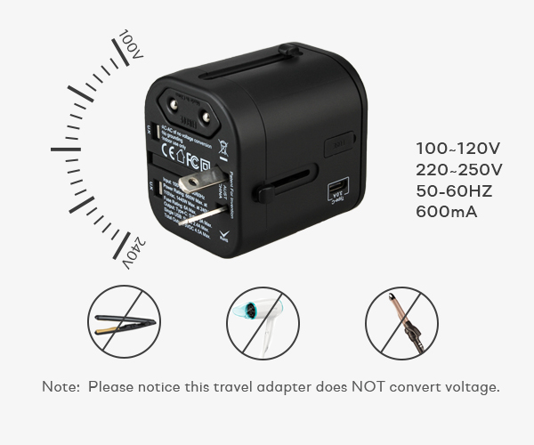 SOLOS universal adapters is designed with wide voltage of 100V-250V AC, Max Power: 1500W (250V/6A)