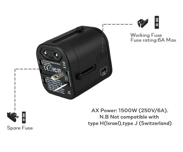 SOLOS universal travel adapter comes with built-in double 6A fuse, keeping your device fully protected against lightning, over-voltage, overcharge, over-current, over temperature