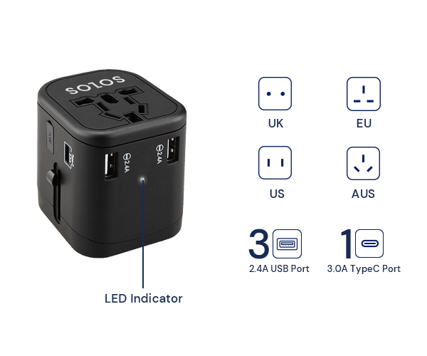 SOLOS universal travel adapter provides a pass-through AC outlet for US, EU, UK, AU ideal for Travel, Office, Home and anywhere.