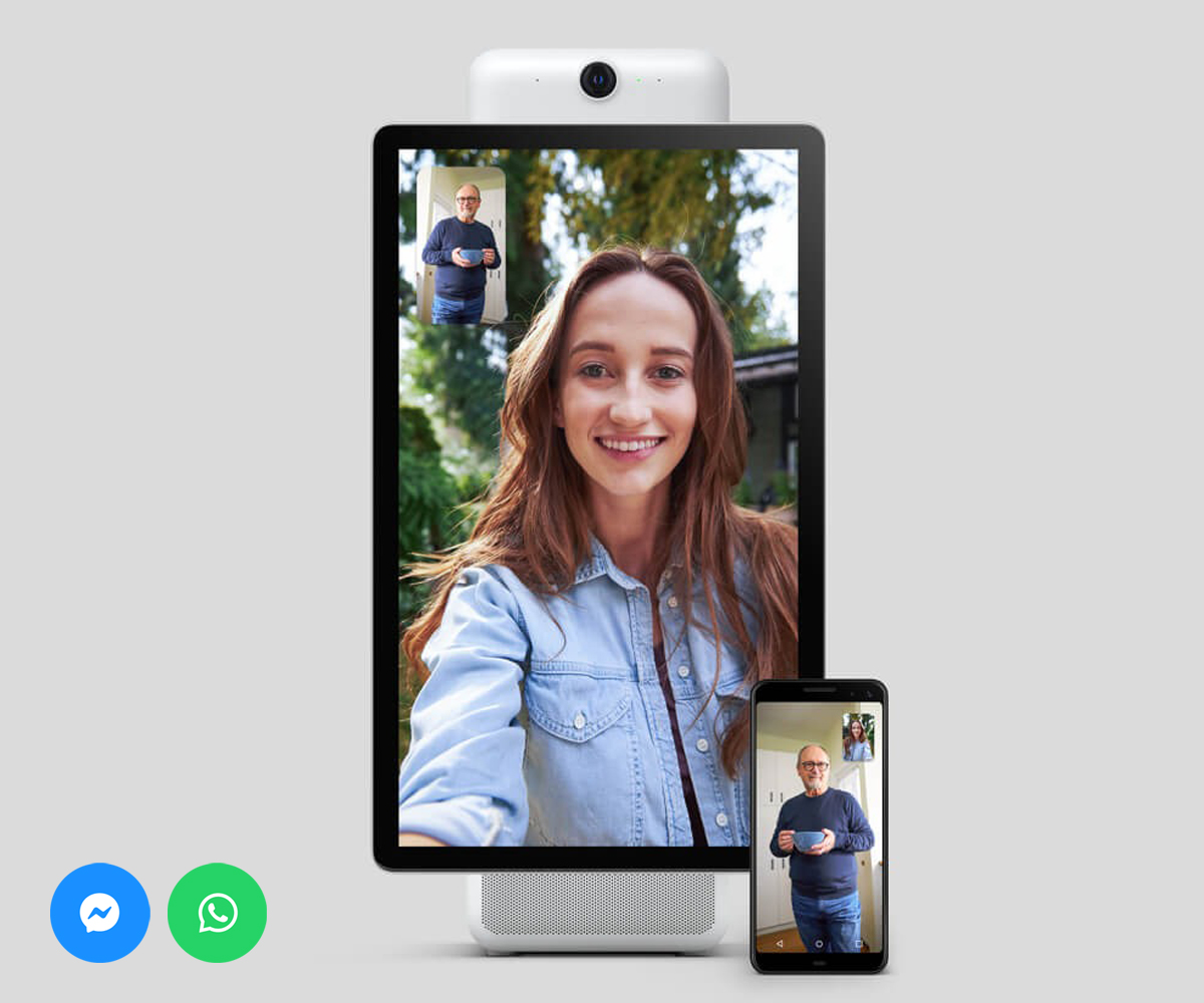Makes video calls with Messenger and WhatsApp