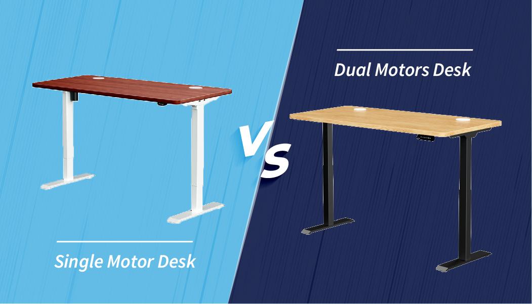 Dual motor or single motor standing desk
