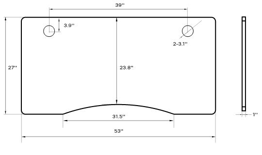 SOLOS Standing Desk Curve Desk Top