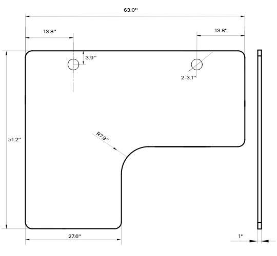 SOLOS Standing Desk L-shaped Desk Top